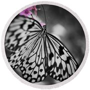 Butterfly On Pink Flowers Round Beach Towel