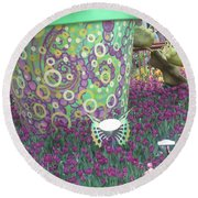 Round Beach Towel featuring the photograph Butterfly Park Garden Painted Green Theme by Navin Joshi