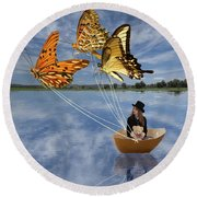 Butterfly Sailing Round Beach Towel