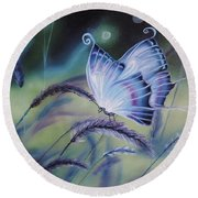 Butterfly Series #3 Round Beach Towel by Dianna Lewis