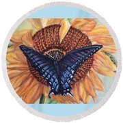 Butterfly Sunday Up-close Round Beach Towel