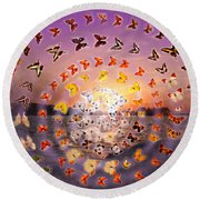Butterfly Sunset Round Beach Towel