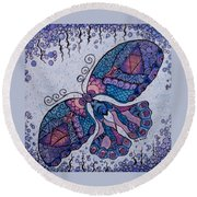 Round Beach Towel featuring the drawing Butterfly Tangle 2 by Megan Walsh