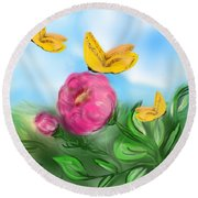 Round Beach Towel featuring the digital art Butterfly Triplets by Christine Fournier