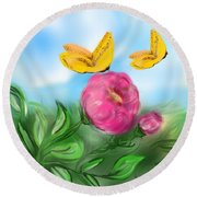 Round Beach Towel featuring the digital art Butterfly Twins by Christine Fournier