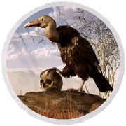 Buzzard With A Skull Round Beach Towel