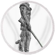Bw Of Mountaineer Statue Round Beach Towel