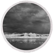 Bw Stormy Seascape Round Beach Towel