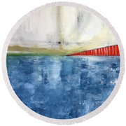 By The Bay- Abstract Art Round Beach Towel