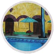 Round Beach Towel featuring the painting By The Poolside by Jeanne Fischer