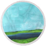 By The River- Abstract Landscape Painting Round Beach Towel