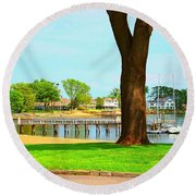 Round Beach Towel featuring the photograph By The Sea by Judy Palkimas