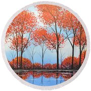 By The Shore Round Beach Towel by Amy Giacomelli