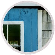 Old Door In Blue Round Beach Towel