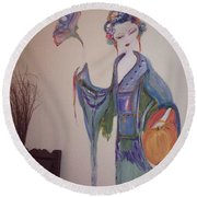 Round Beach Towel featuring the painting Bye Bye Peony by Judith Desrosiers