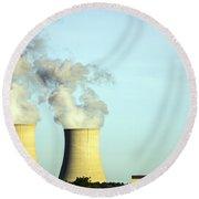 Byron Nuclear Plant Round Beach Towel