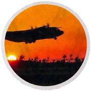 C-130 Sunset Round Beach Towel by Paul Fearn