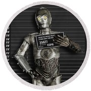 C-3po Mug Shot Round Beach Towel