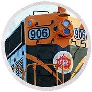 C N R Train 906 Round Beach Towel by Barbara Griffin