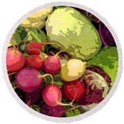 Cabbages And Radishes Round Beach Towel