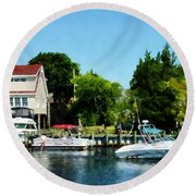 Round Beach Towel featuring the photograph Cabin Cruisers by Susan Savad