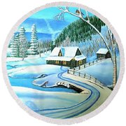 Round Beach Towel featuring the painting Cabin Fever At Christmastime by Kimberlee Baxter