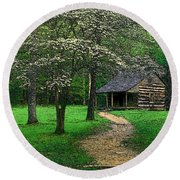Round Beach Towel featuring the photograph Cabin In Cades Cove by Rodney Lee Williams