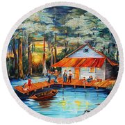Cabin In The Swamp Round Beach Towel