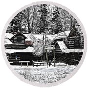 Round Beach Towel featuring the photograph Cabin In The Woods by Deborah Klubertanz