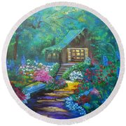Cabin In The Woods Jenny Lee Discount Round Beach Towel