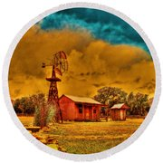 Cabin On A Windy Hilltop Round Beach Towel