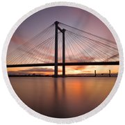 Round Beach Towel featuring the photograph Cable Bridge by Ronda Kimbrow
