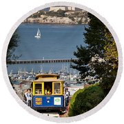 Cable Car In San Francisco Round Beach Towel by Brian Jannsen
