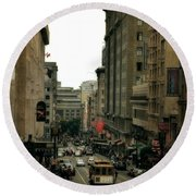 Cable Car In The City Round Beach Towel