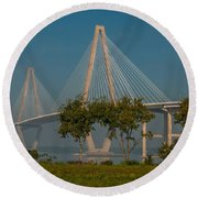 Cable Stayed Bridge Round Beach Towel