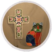Round Beach Towel featuring the painting Cabo Gato 2 by Marna Edwards Flavell