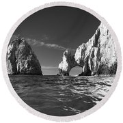 Cabo In Black And White Round Beach Towel