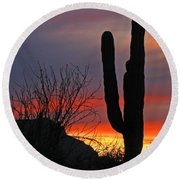 Cactus At Sunset Round Beach Towel