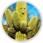 Round Beach Towel featuring the photograph Cactus Face by Mae Wertz