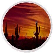Cactus Glow Round Beach Towel