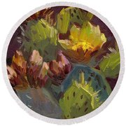 Cactus In Bloom 1 Round Beach Towel