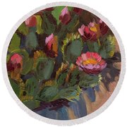 Cactus In Bloom 2 Round Beach Towel