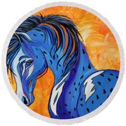 Round Beach Towel featuring the painting Cadet The Blue Horse by Janice Rae Pariza