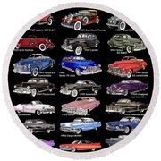 25 Cadillacs In A Poster  Round Beach Towel