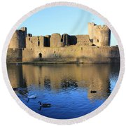Round Beach Towel featuring the photograph Caerphilly Castle by Vicki Spindler