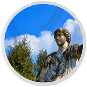 Caesar On Blue Sky Round Beach Towel