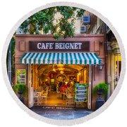 Cafe Beignet Morning Nola Round Beach Towel