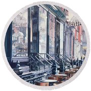 Cafe Della Pace East 7th Street New York City Round Beach Towel