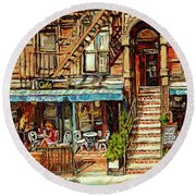 Cafe Mogador Moroccan Mediterranean Cuisine New York Paintings East Village Storefronts Street Scene Round Beach Towel