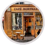 Cafe Montmartre Round Beach Towel